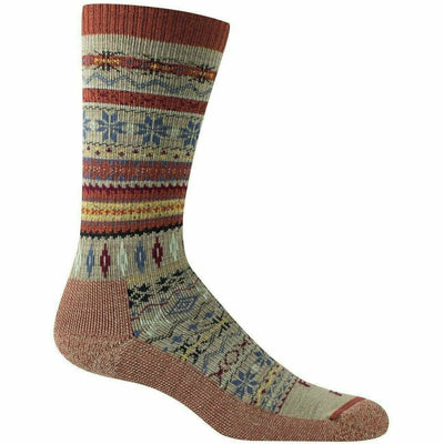 Farm to Feet Womens Hamilton Fair Isle Crew Socks Small / Mahogany