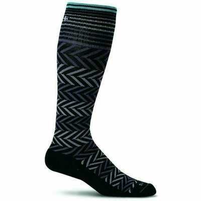 Sockwell Womens Chevron Moderate Compression Knee-High Socks - Small/Medium / Black