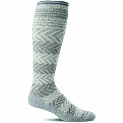 Sockwell Womens Chevron Moderate Compression Knee-High Socks Small/Medium / Light Gray