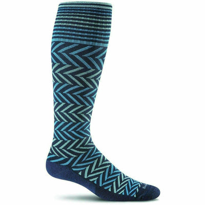 Sockwell Womens Chevron Moderate Compression Knee-High Socks - Small/Medium / Navy