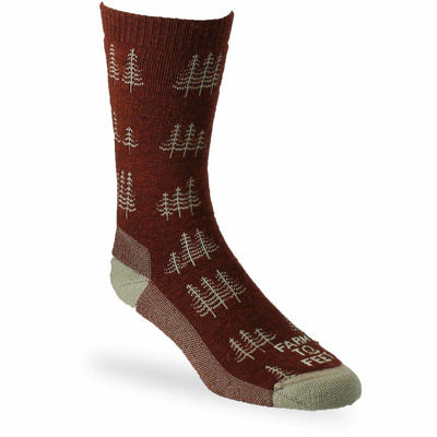 Farm to Feet Mens Cokeville Midweight Trees Crew Socks - Medium / Red Clay