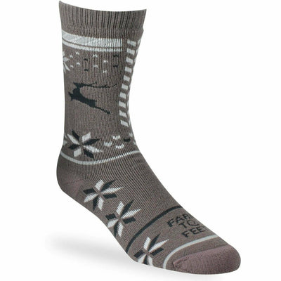 Farm to Feet Womens Hampton Snowflake Mismatch Crew Socks - Small / Sparrow
