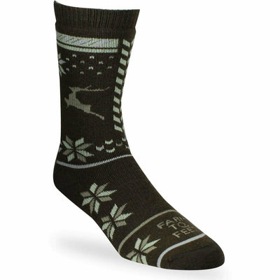 Farm to Feet Womens Hampton Snowflake Mismatch Crew Socks - Small / Turkish Coffee