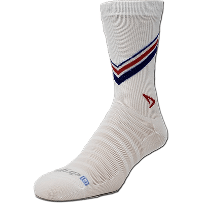 Drymax Hyper Thin Running Crew Socks - Small / White/Red & Royal Stripes