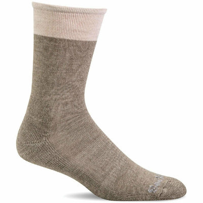 Sockwell Womens Sole Mate Essential Comfort Crew Socks - Small/Medium / Khaki