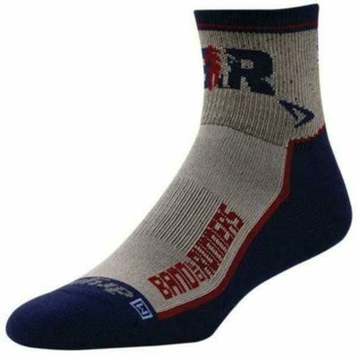 Drymax Band of Runners Lite Trail Run 1/4 Crew Socks - Small / Desert Sand/Navy/Red