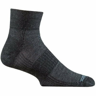 Wrightsock Merino Coolmesh II Quarter Socks Small / Grey/Black