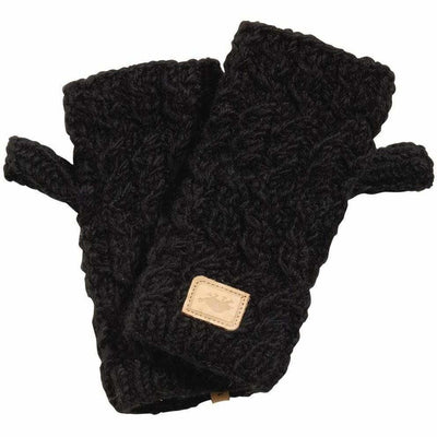 Turtle Fur Mika Wool Fingerless Mittens One Size Fits Most / Black