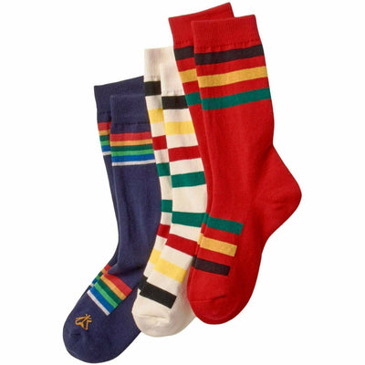 Pendleton National Park Striped Crew Socks Medium / Glacier/Crater Lake/Rainier / 3- Pair Pack