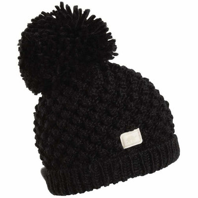 Turtle Fur Pop Up Pom Beanie - One Size Fits Most / Black