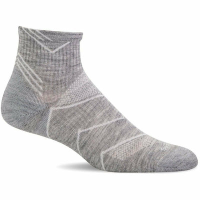 Sockwell Womens Incline Moderate Compression Quarter Socks Small/Medium / Grey Solid