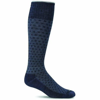 Sockwell Mens Shadow Box Moderate Compression OTC Socks Medium/Large / Navy