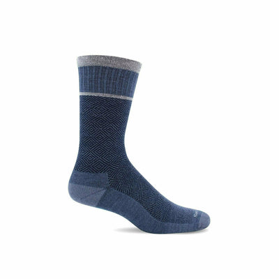 Sockwell Mens Plantar Cush Firm Compression Crew Socks - Large/X-Large / Denim
