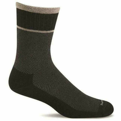 Sockwell Mens Plantar Cush Firm Compression Crew Socks - Medium/Large / Black