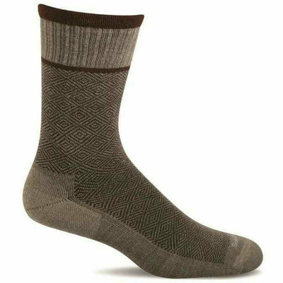 Sockwell Mens Plantar Cush Firm Compression Crew Socks - Medium/Large / Khaki