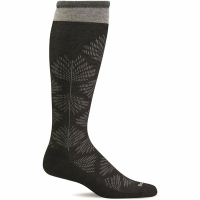 Sockwell Womens Full Floral Moderate Compression Knee High Socks - Small/Medium / Black