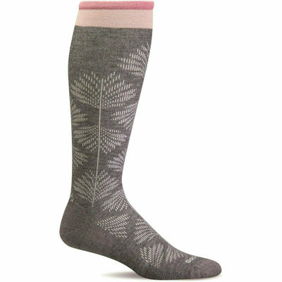 Sockwell Womens Full Floral Moderate Compression Knee High Socks - Small/Medium / Charcoal