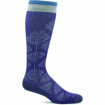 Sockwell Womens Full Floral Moderate Compression Knee High Socks - Small/Medium / Plum