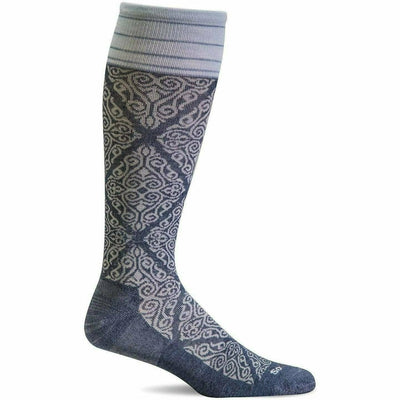 Sockwell Womens The Raj Firm Compression Knee High Socks - Small/Medium / Denim