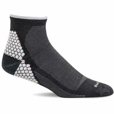 Sockwell Mens Plantar Sport Firm Compression Quarter Socks - Medium/Large / Black