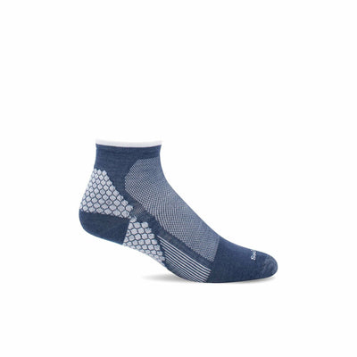 Sockwell Mens Plantar Sport Firm Compression Quarter Socks - Medium/Large / Denim