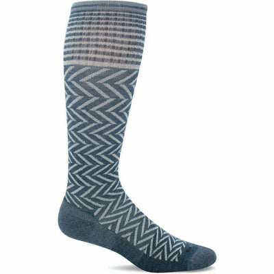 Sockwell Womens Chevron Moderate Compression Knee-High Socks - Small/Medium / Denim Sparkle