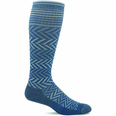 Sockwell Womens Chevron Moderate Compression Knee-High Socks - Small/Medium / Bluestone