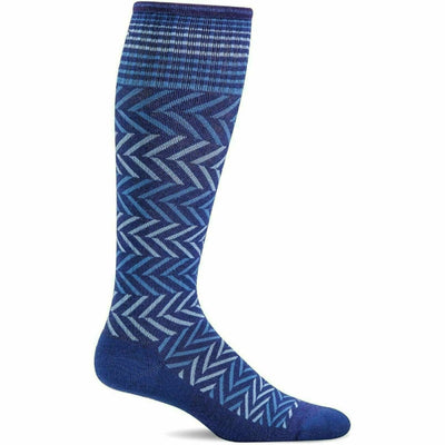 Sockwell Womens Chevron Moderate Compression Knee-High Socks - Small/Medium / Hyacinth
