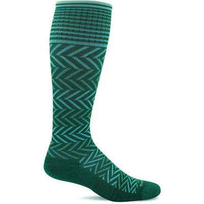 Sockwell Womens Chevron Moderate Compression Knee-High Socks - Small/Medium / Jade