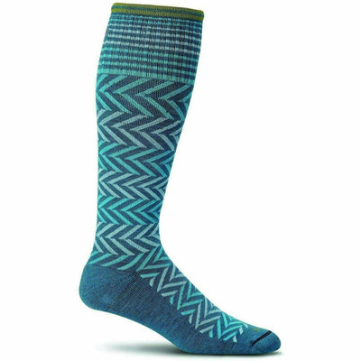 Sockwell Womens Chevron Moderate Compression Knee-High Socks - Small/Medium / Teal
