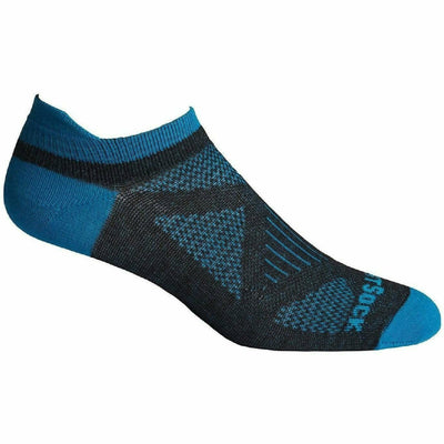 Wrightsock Womens Double-Layer Coolmesh II Lightweight Lo Quarter Socks Medium / Ash/Yellow/Azure