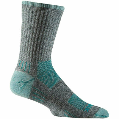 Wrightsock Escape Midweight Crew Socks - Small / Ash Twist/Turquoise