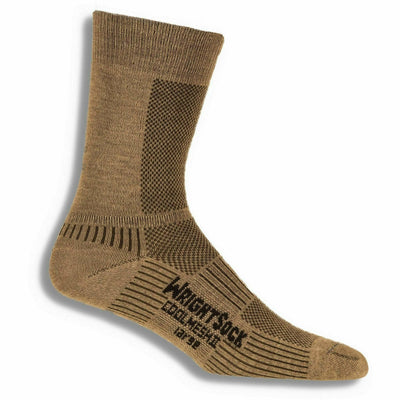 Wrightsock Double-Layer Coolmesh II Lightweight Crew Socks - Small / Khaki / Single Pair