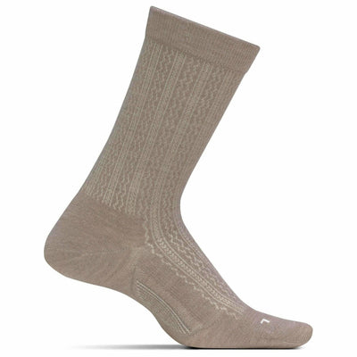 Feetures Everyday Womens Texture Ultra Light Crew Socks Small / Oatmeal