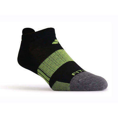 Fitsok NP7 Midweight No Show Tab Socks Small / Black/Lime