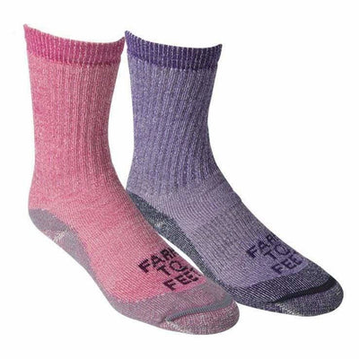 Farm to Feet Womens Jamestown Traditional Midweight Hiker Socks - Small / Parachute/Berry / 2-Pair Pack