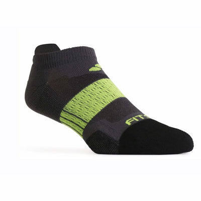 Fitsok NP7 Midweight No Show Tab Socks Small / Gray/Lime