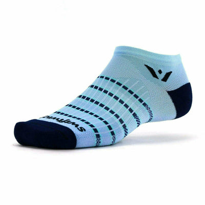 Swiftwick Aspire Zero Stripe No Show Socks Small / White Navy