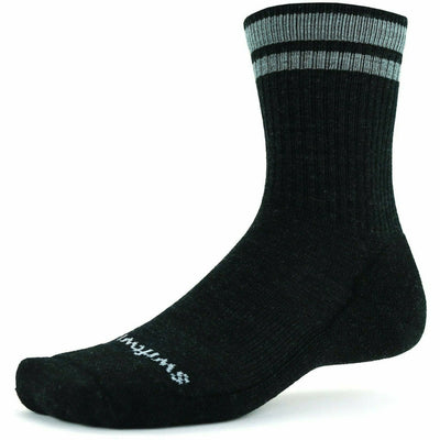 Swiftwick Pursuit Six Light Hike Socks - Large / Charcoal Heather Stripe