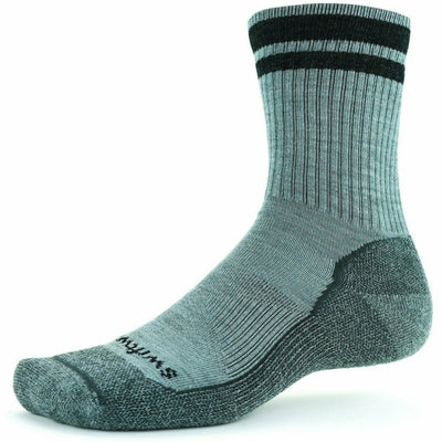 Swiftwick Pursuit Six Light Hike Socks - Large / Heather Coal Stripe