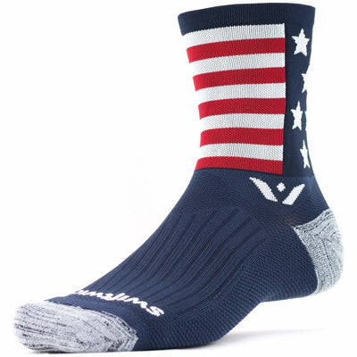 Swiftwick Vision Five Crew Socks - Small / American Spirit Blue/White/Red