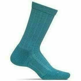 Feetures Everyday Womens Texture Cushion Crew Socks Small / Turquoise