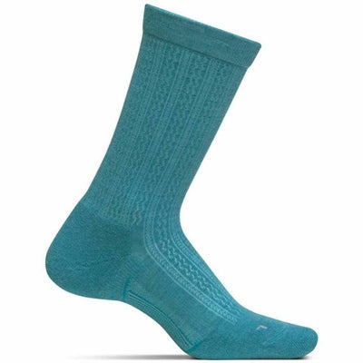 Feetures Everyday Womens Texture Ultra Light Crew Socks Small / Teal