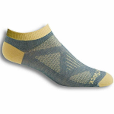Wrightsock Womens Double-Layer Coolmesh II Lightweight Lo Quarter Socks Small / Grey/Custard