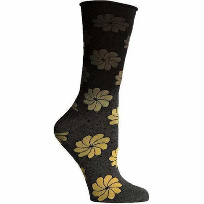 Richer Poorer Womens Frida Roll Top Crew Socks - One Size Fits Most / Charcoal