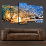 Sunset Wave - 5 Piece Canvas
