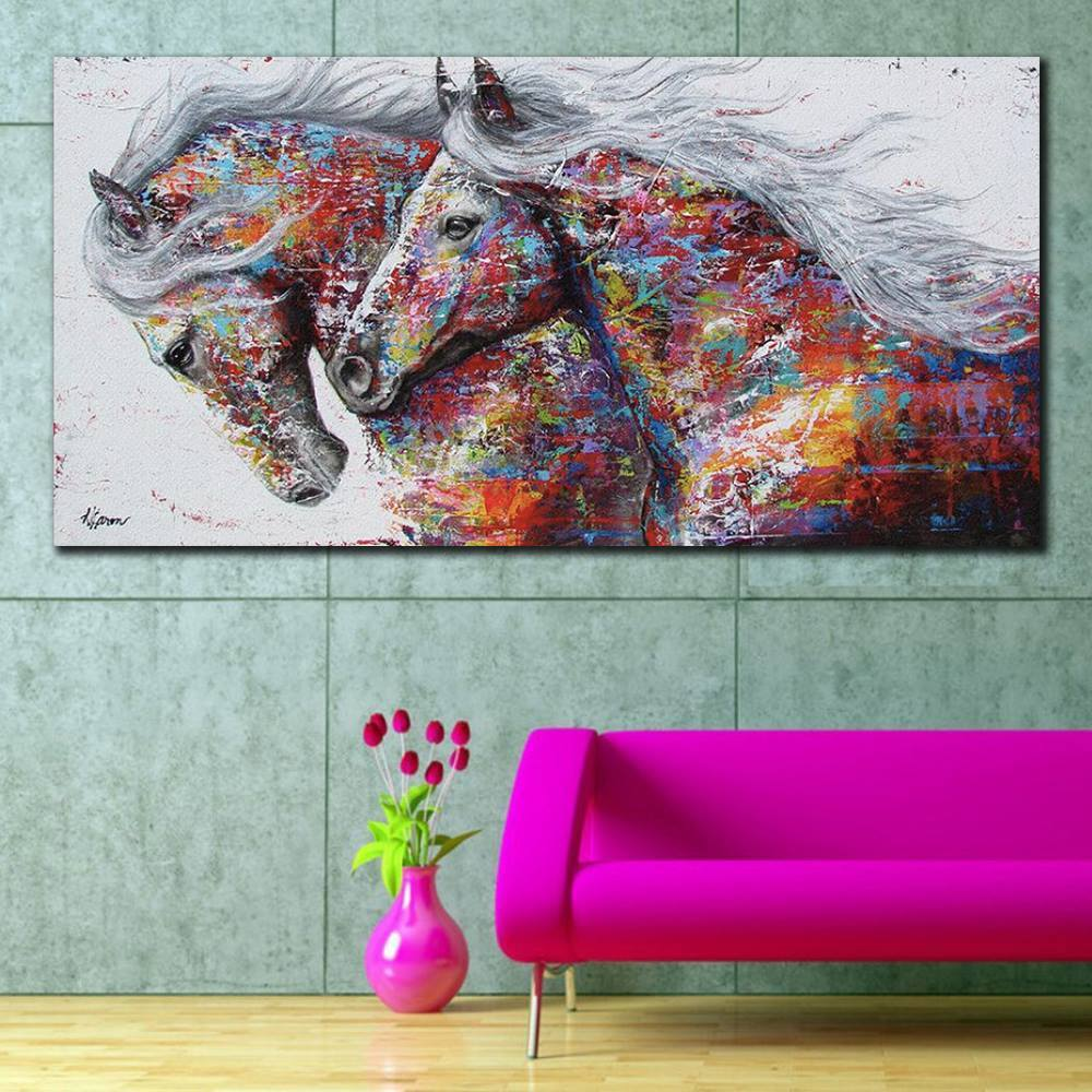 Colorful Horses Canvas