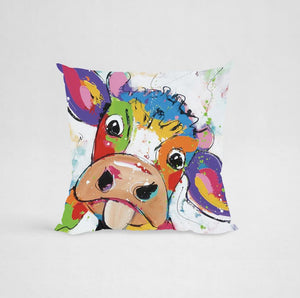 Cushion Cover - Colorful Cow 1