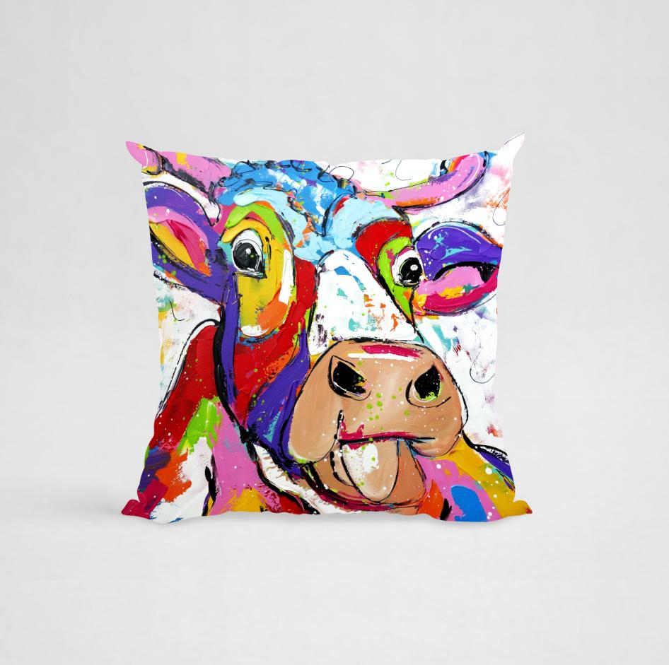 Cushion Cover - Colorful Cow 3