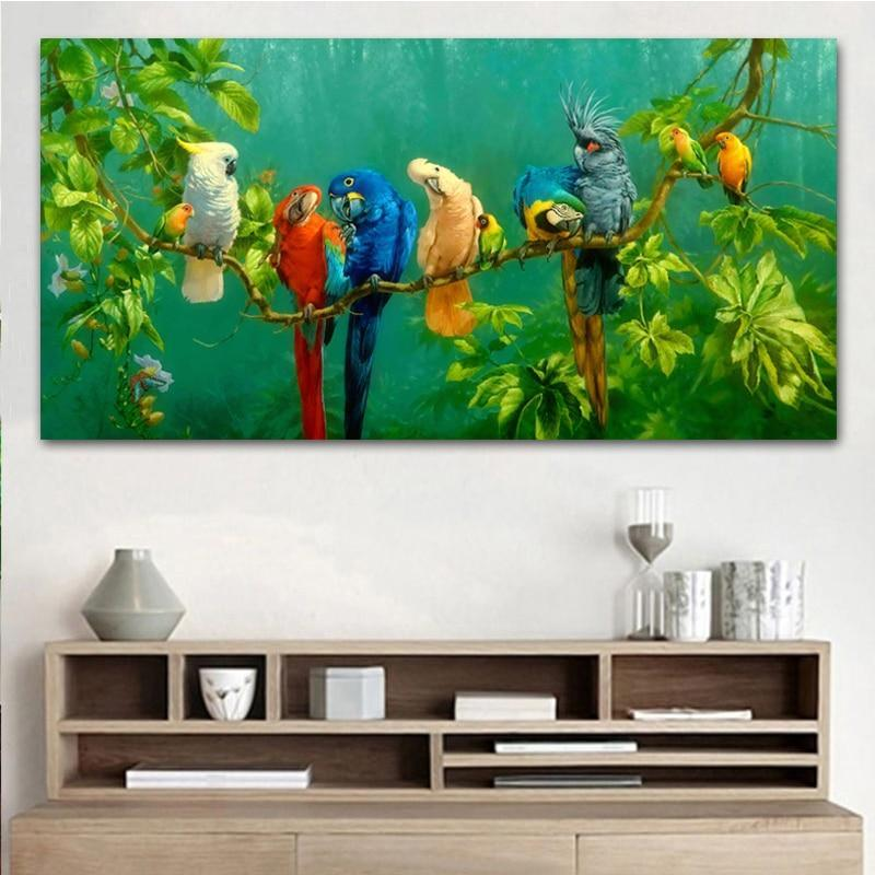 Colorful Parrots Canvas